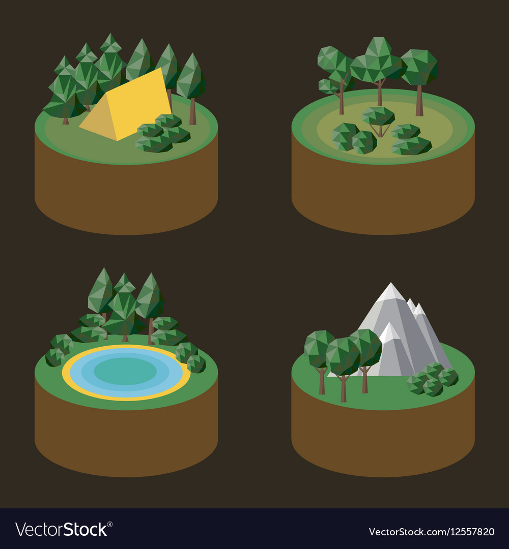 Set of isometric icons outdoor recreation