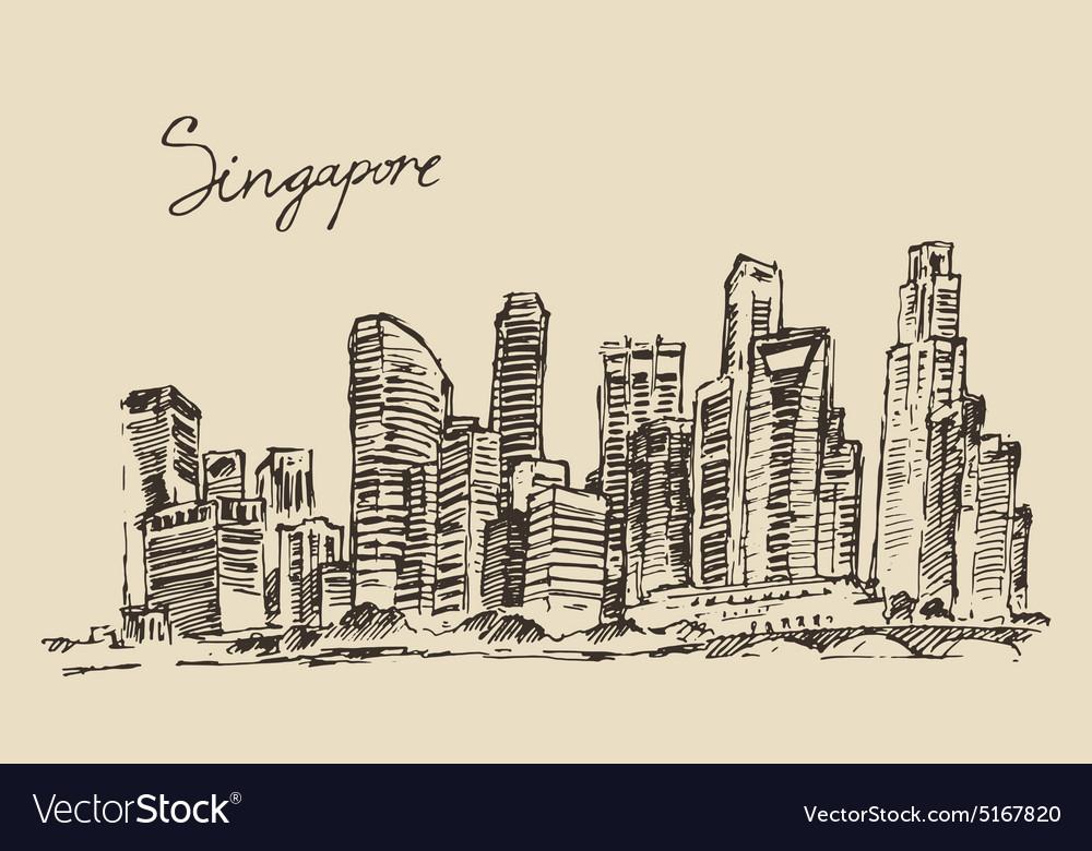 Singapore architecture hand drawn sketch