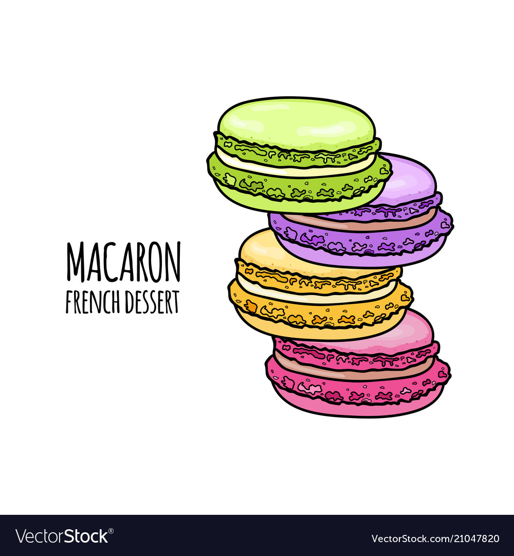 Stack of colorful macaron almond cakes isolated