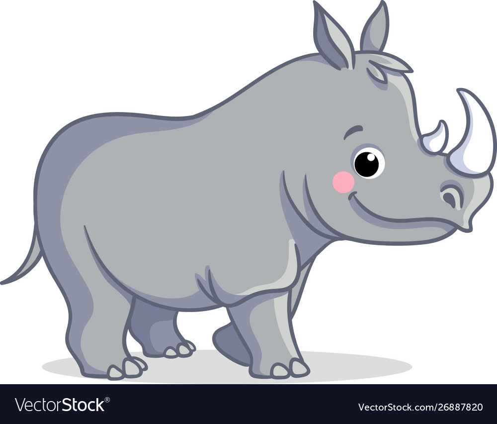 The little rhino is standing on a white background