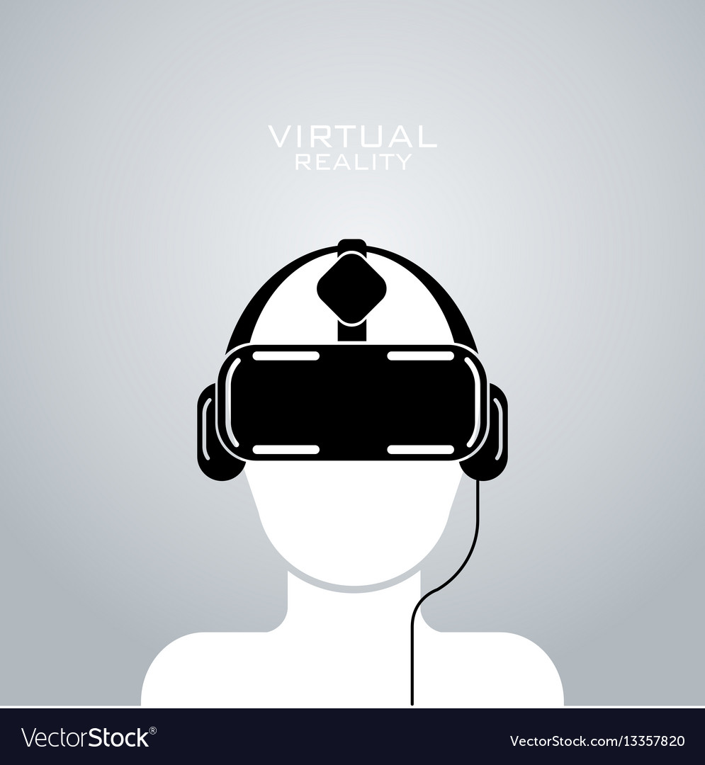 Virtual reality headset icon flat design