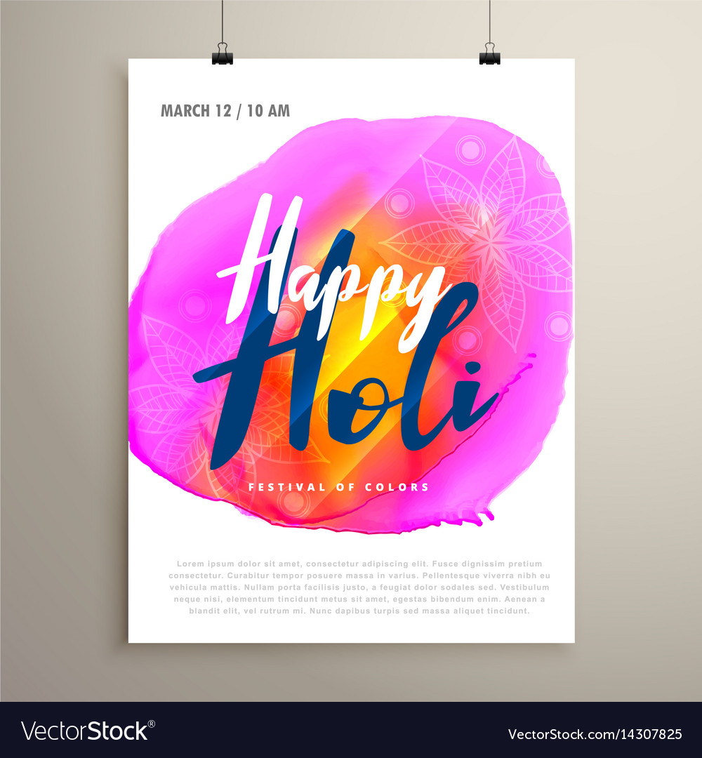 Abstract holi festival flyer design