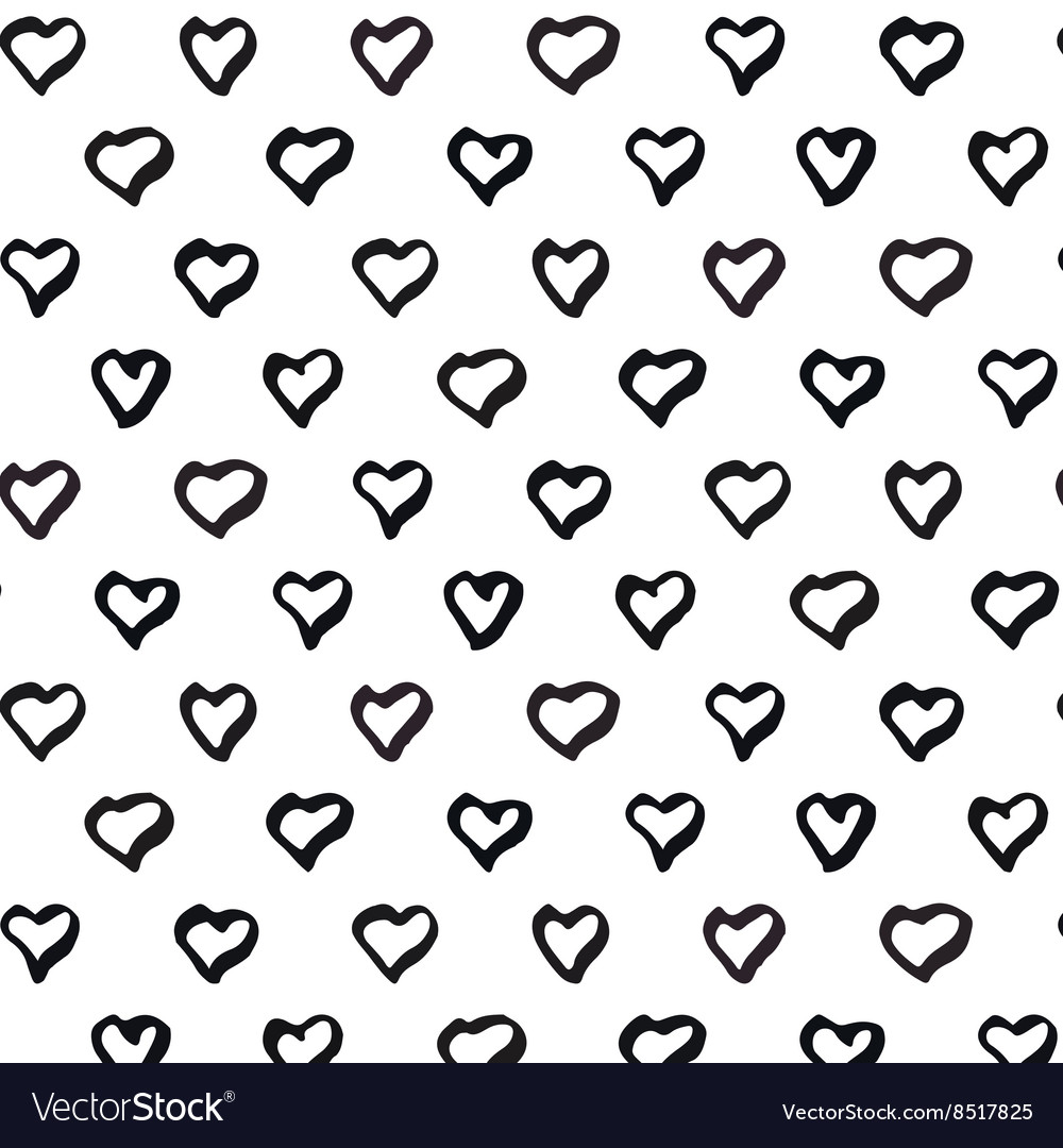 Abstract seamless heart pattern Black and white