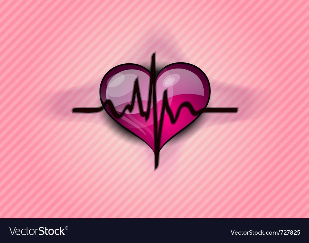 Black cardiogram on the heart
