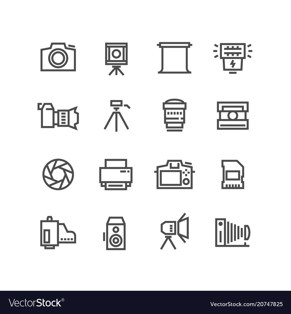 Camera on tripod photo lens and photography vector image