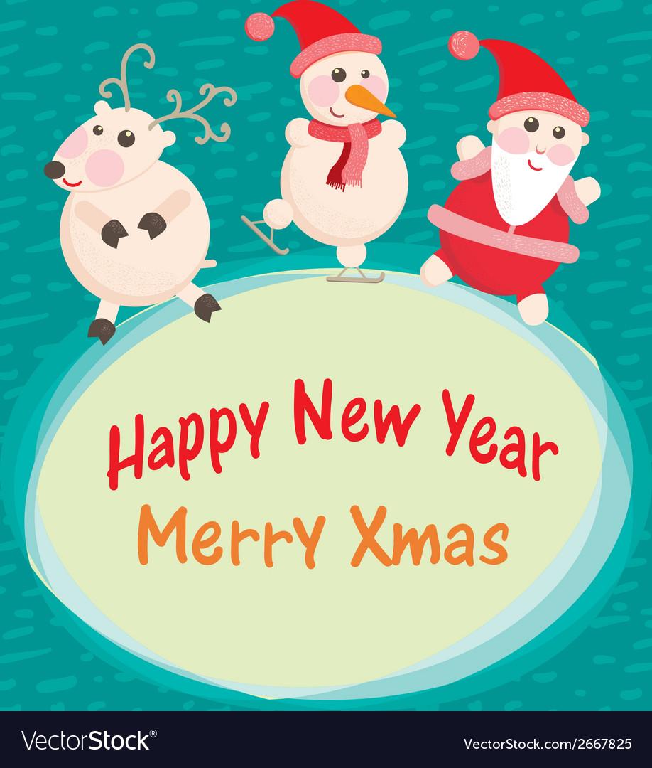 Christmas and new year greeting card santa claus vector image m4hsunfo