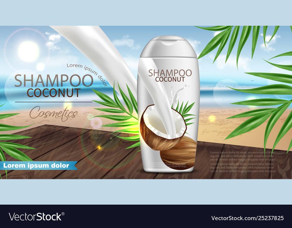 Coconut shampoo realistic product