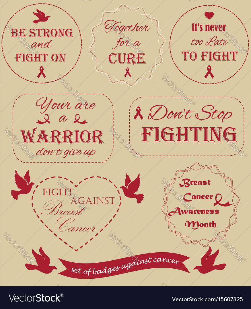 Collection of badges against the cancer