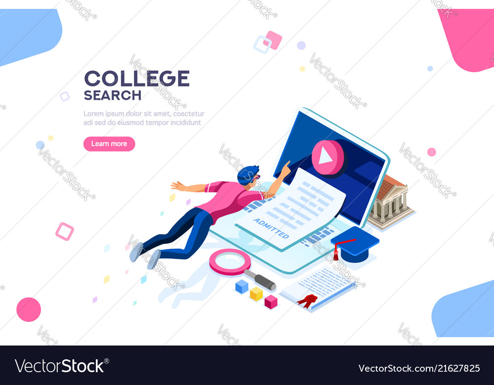 College web page banner template Royalty Free Vector Image