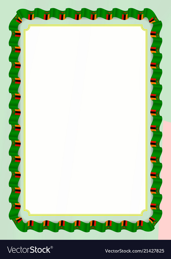 Frame and border of ribbon with zambia flag