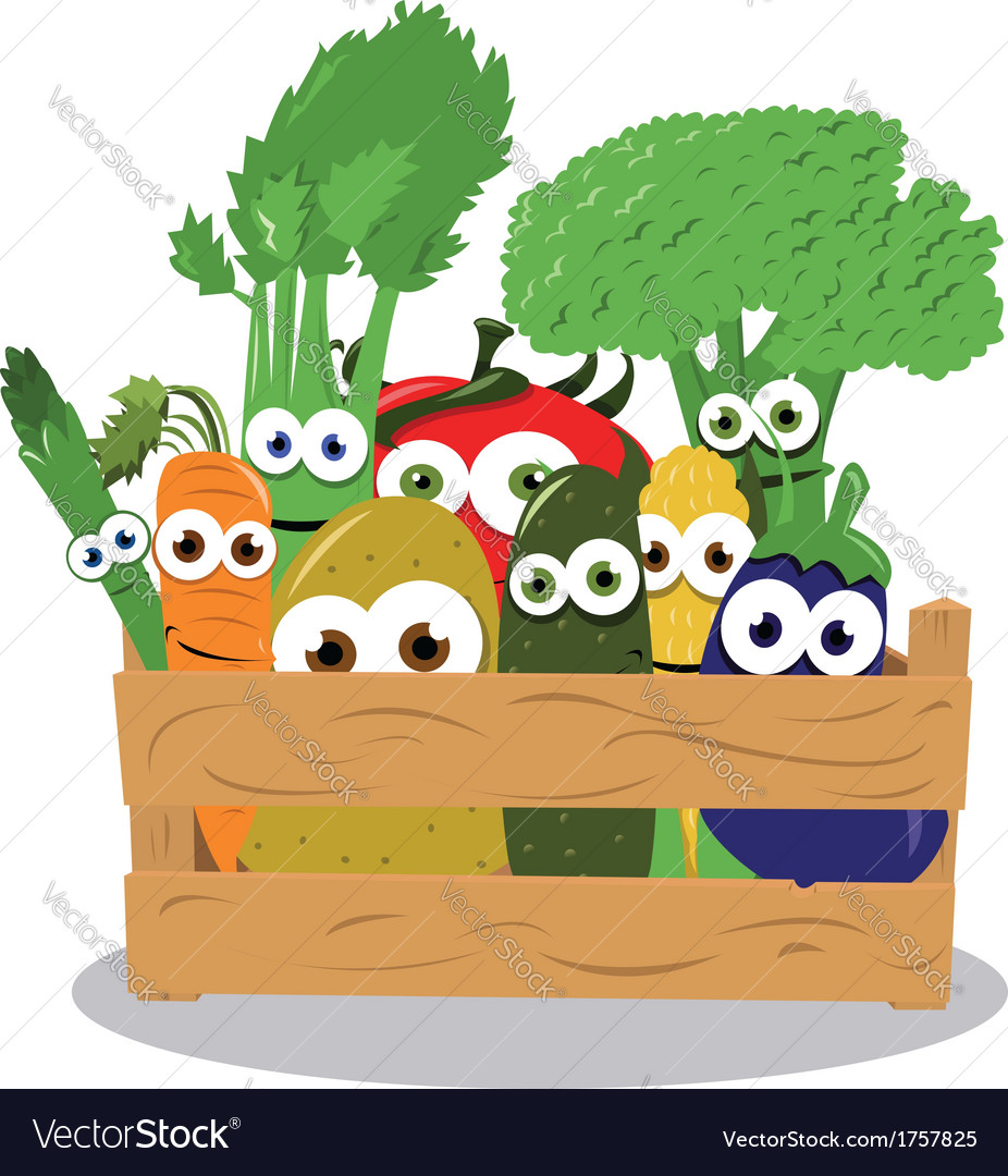 Funny Veggies in a Wooden Box