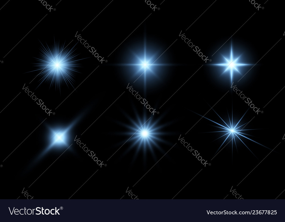 Glowing stars light effects graphic elements