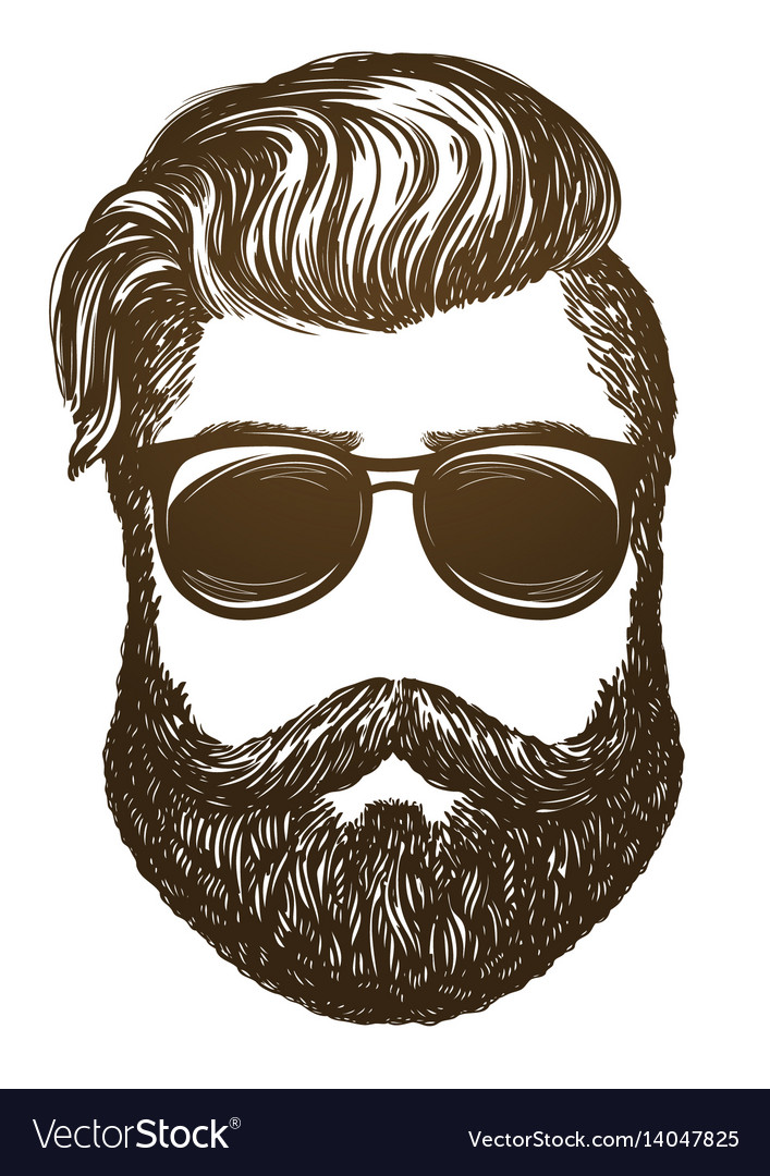 Hand drawn portrait man with beard hipster