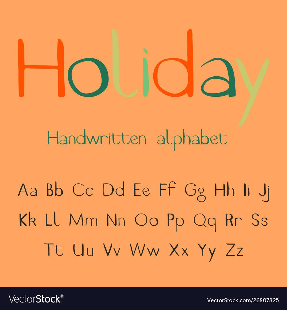 Holiday handwritten alphabet