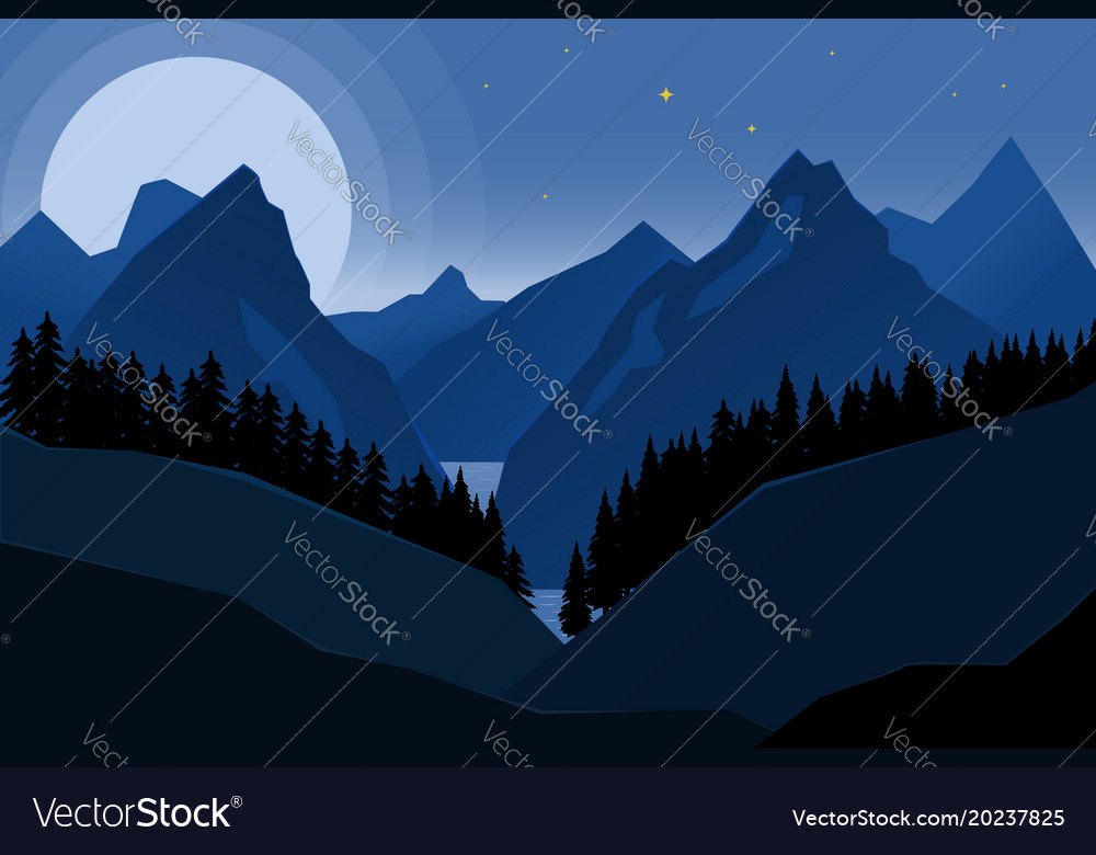 Landscape of night mountains in flat style design