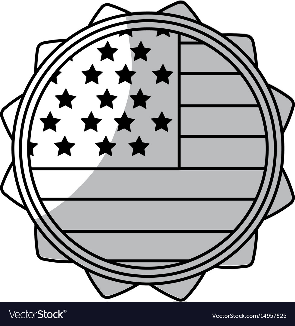 Line emblem with flag of usa inside