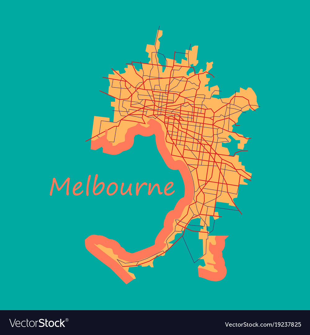 Melbourne australia map in retro style flat vector image gumiabroncs Choice Image