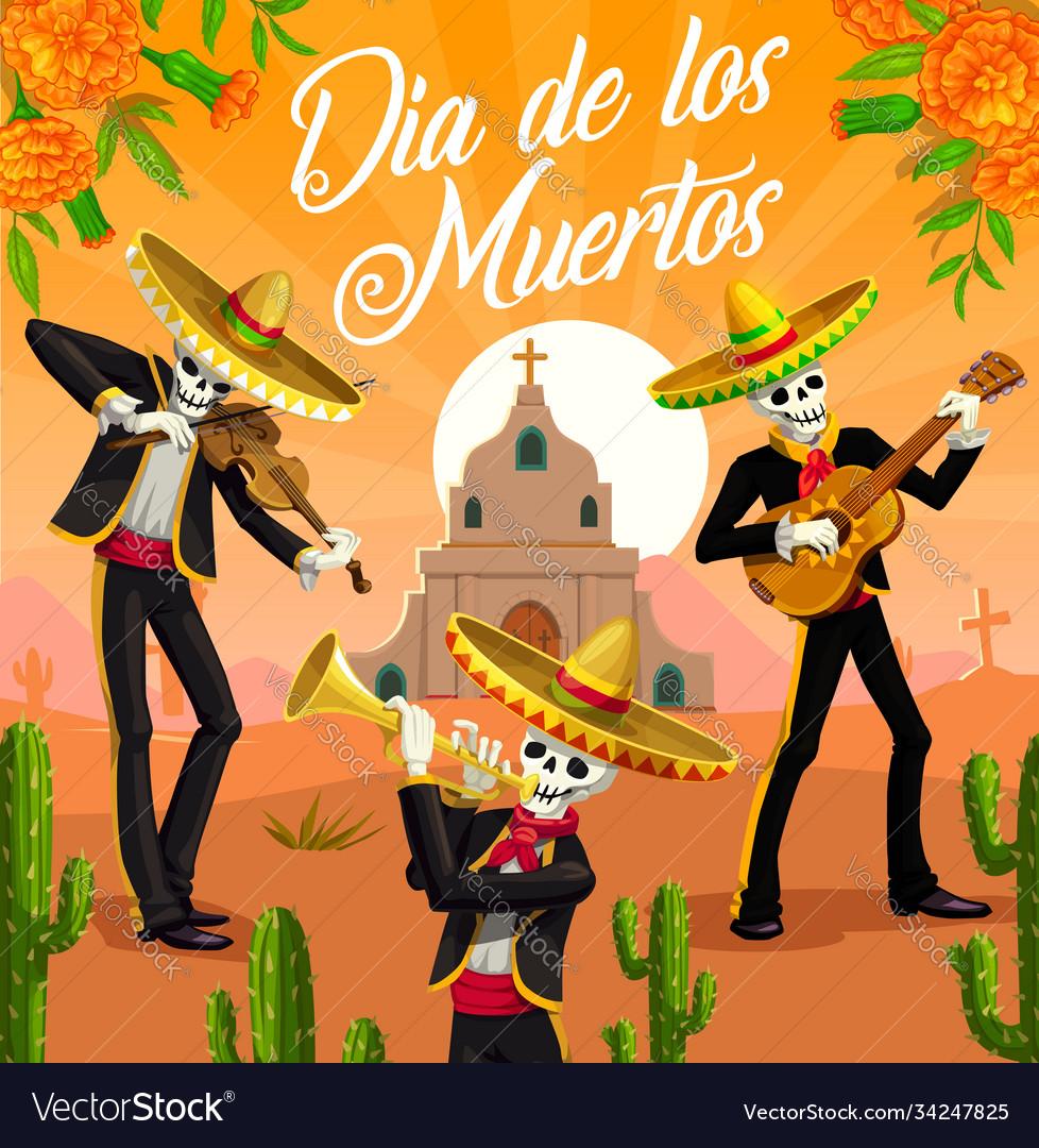 Mexican dia de los muertos mariachi skeletons