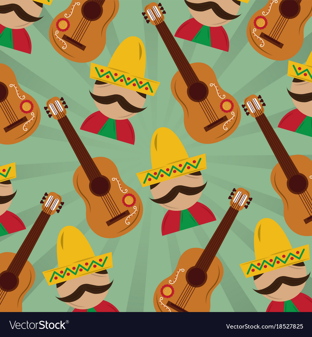 Mexican man with hat mustache and guitar pattern