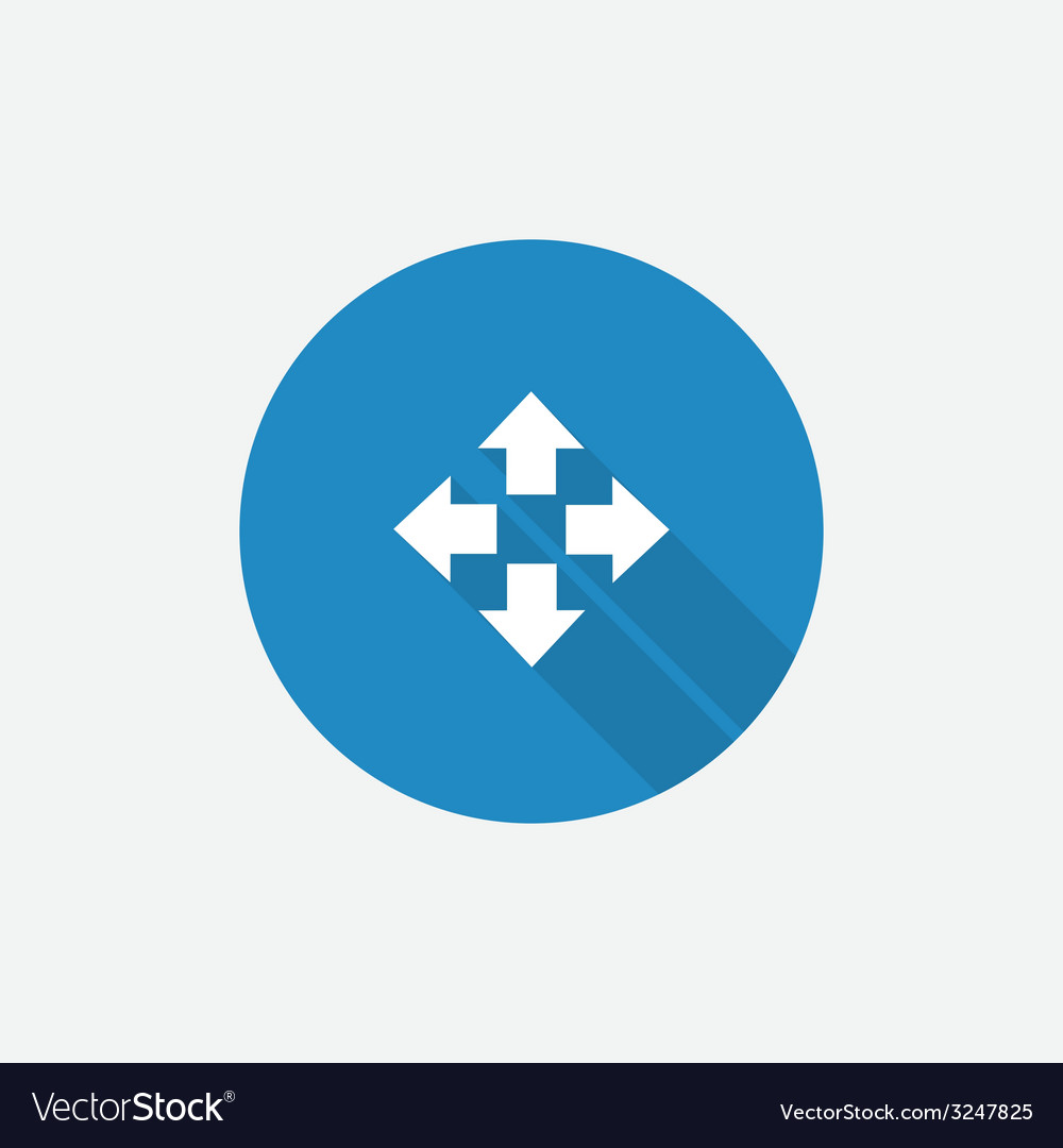 Move Flat Blue Simple Icon with long shadow