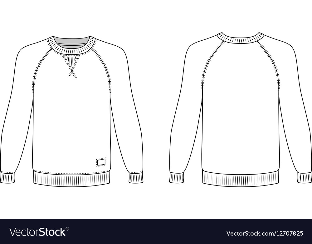 Raglan Long Sleeve T Shirt Outlined Template Vector Image