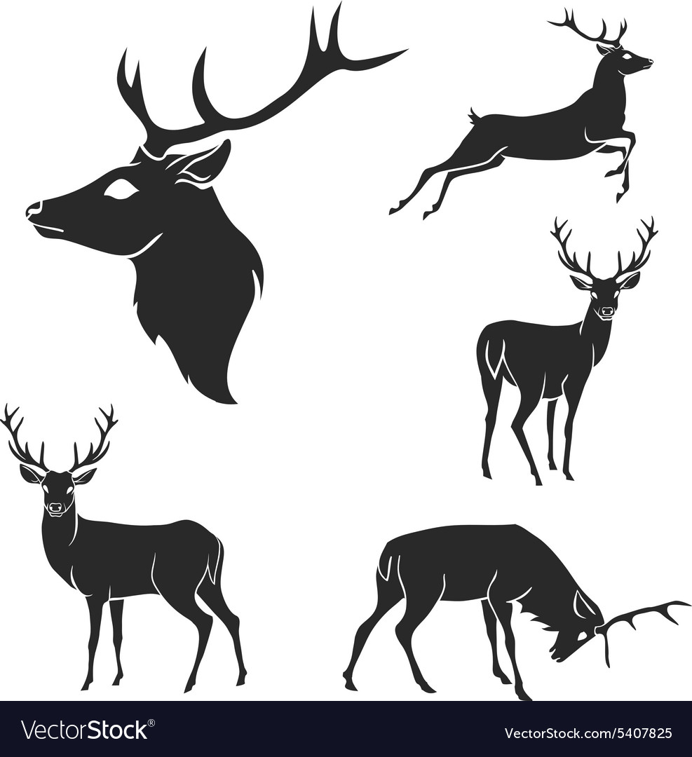 Set of black forest deer silhouettes Suitable for