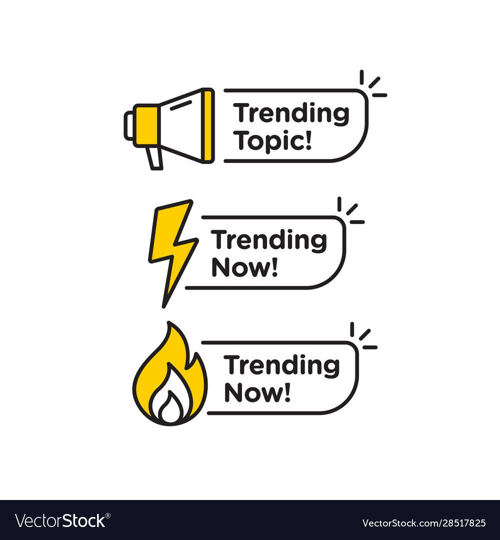 Trending topic logo icon or symbol set with black