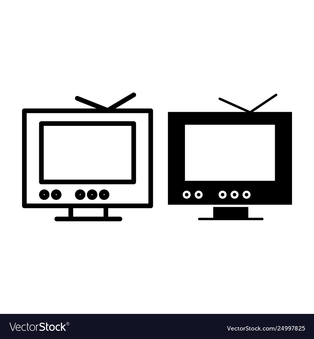 Tv line and glyph icon monitor