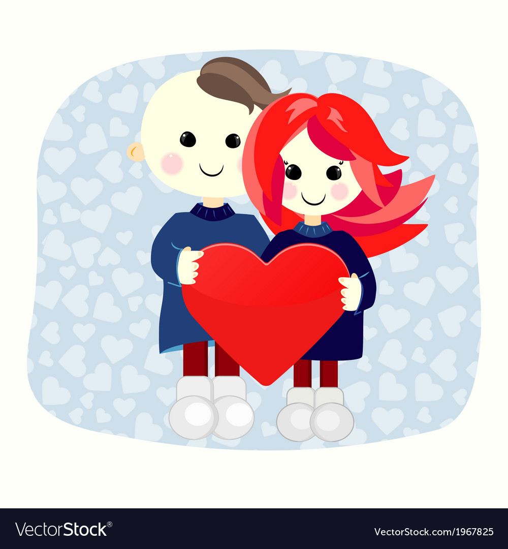 Valentine boy and girl with big heart