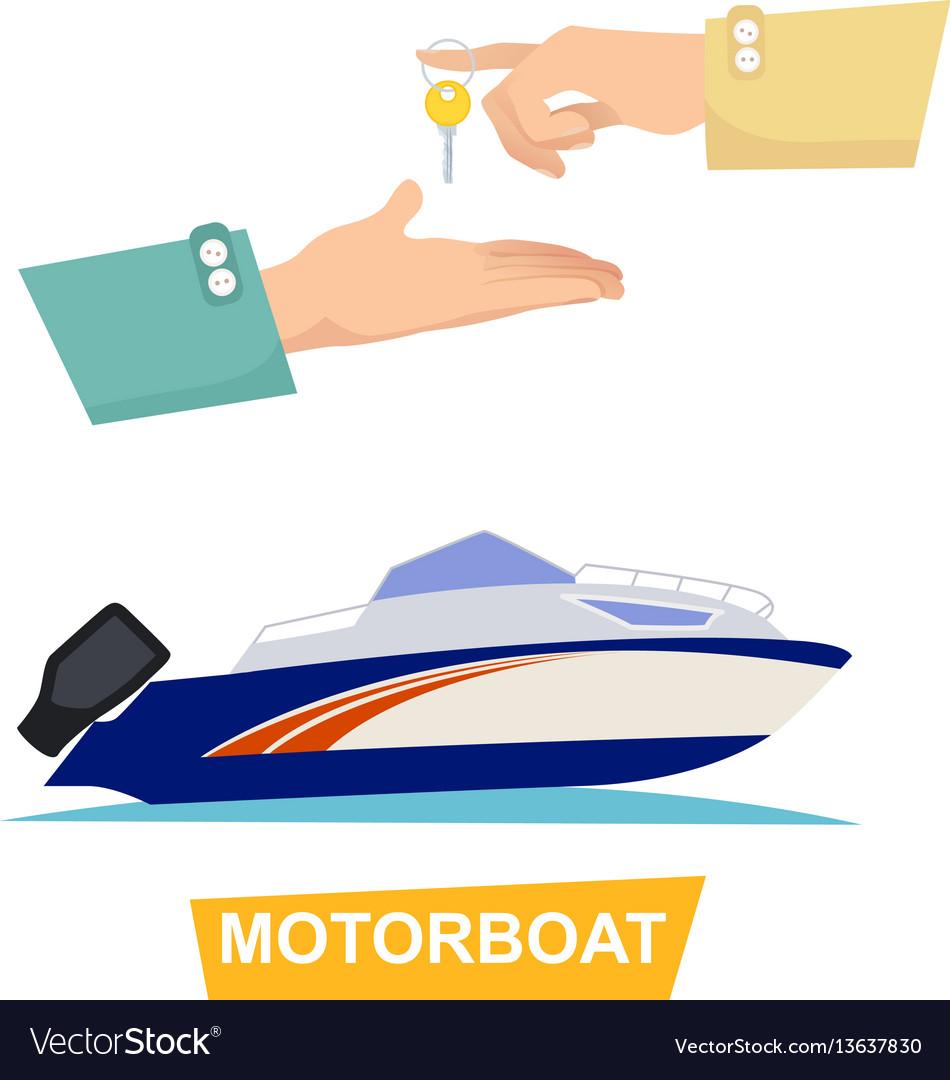 Buying blue speed motorboat on white background vector image