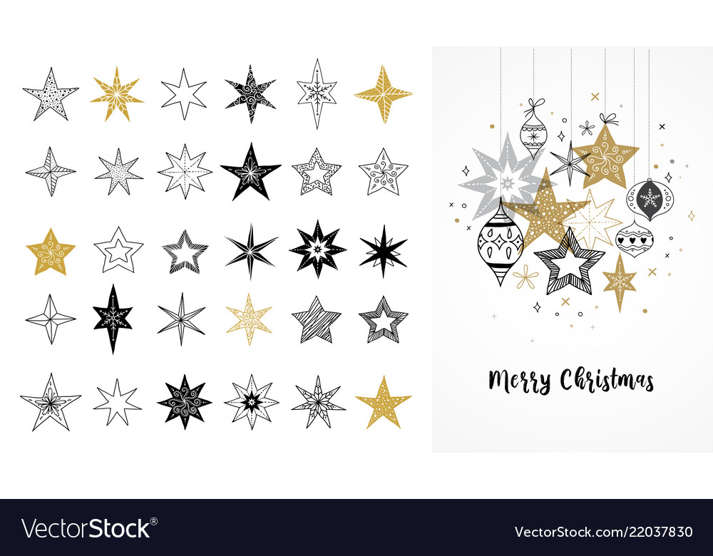 Collection snowflakes stars christmas vector