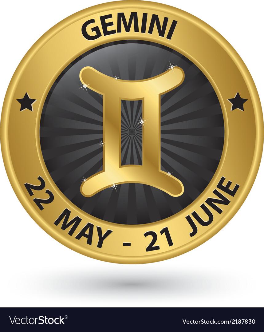 Gemini Zodiac Gold Sign Gemini Symbol Royalty Free Vector