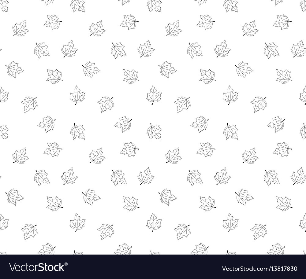 Hand drawn leaves in doodle style - seamless