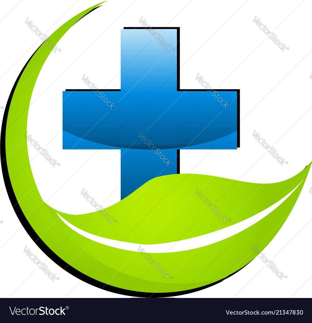Hospital medical cross with environment leaf icon