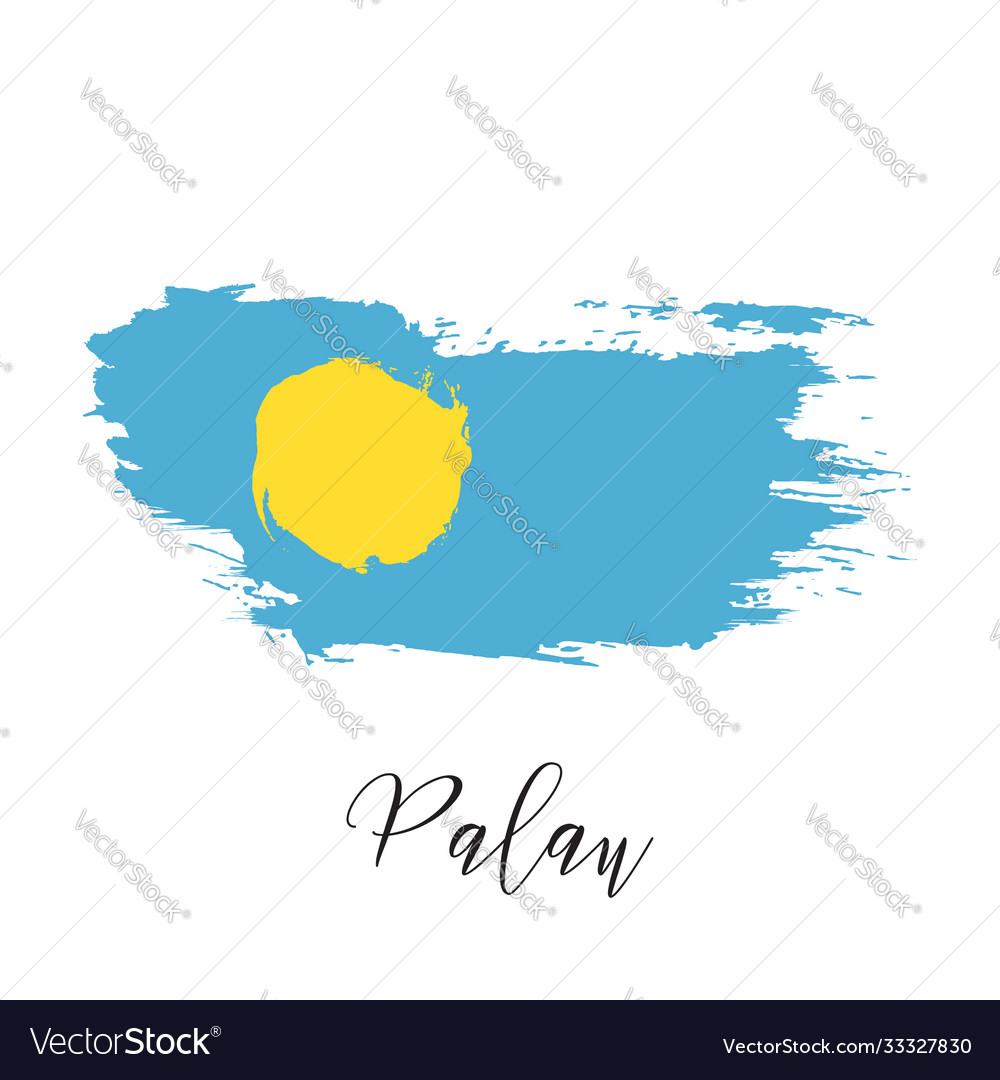 Palau watercolor national country flag icon