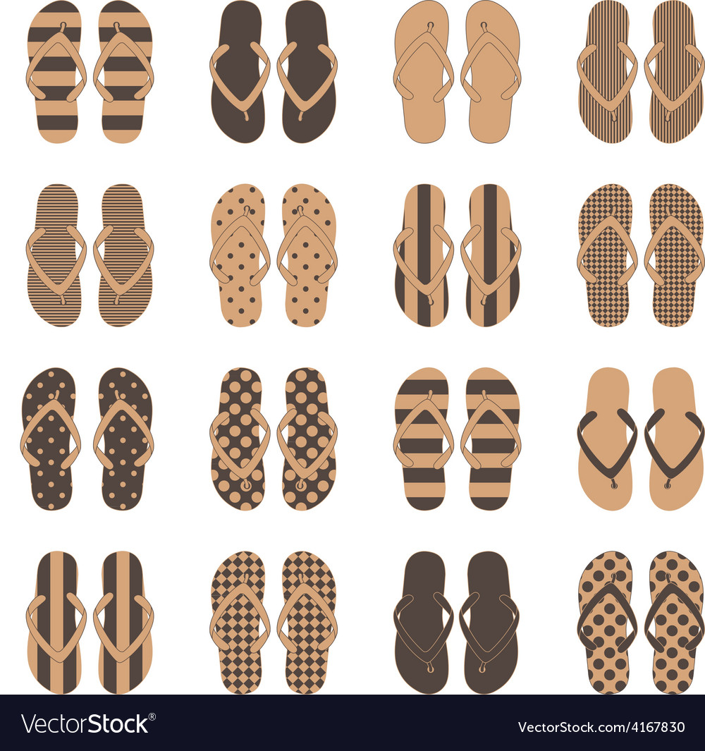 a1902f4c7 Pop Art style flip flops in a colorful Royalty Free Vector