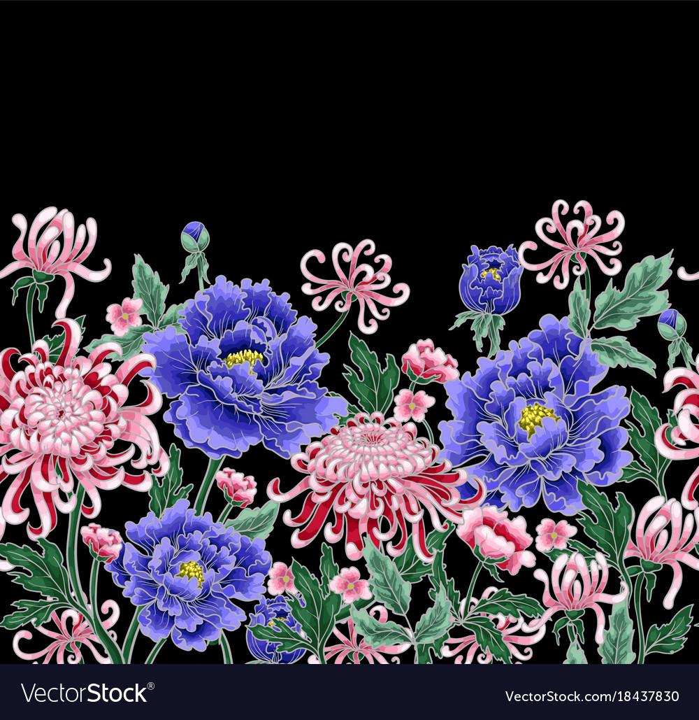 Seamless pattern of chrysanthemum and peonies