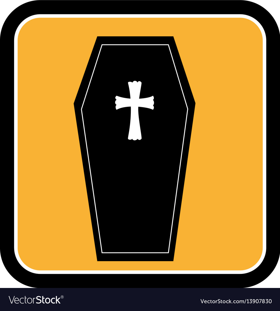 Square frame of halloween with coffin