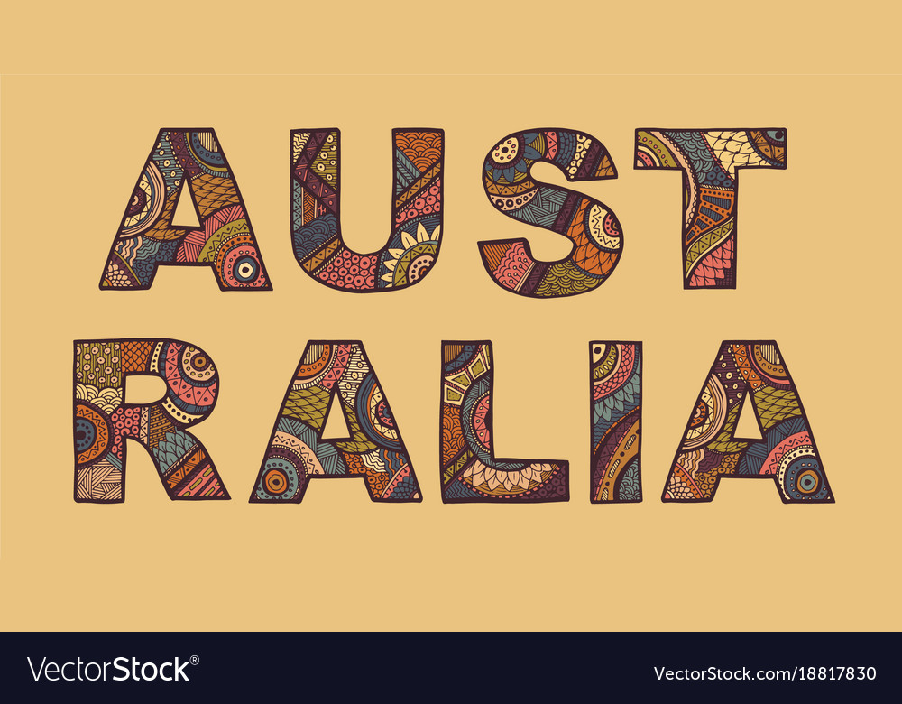 The inscription of australia in ethnic style vector image