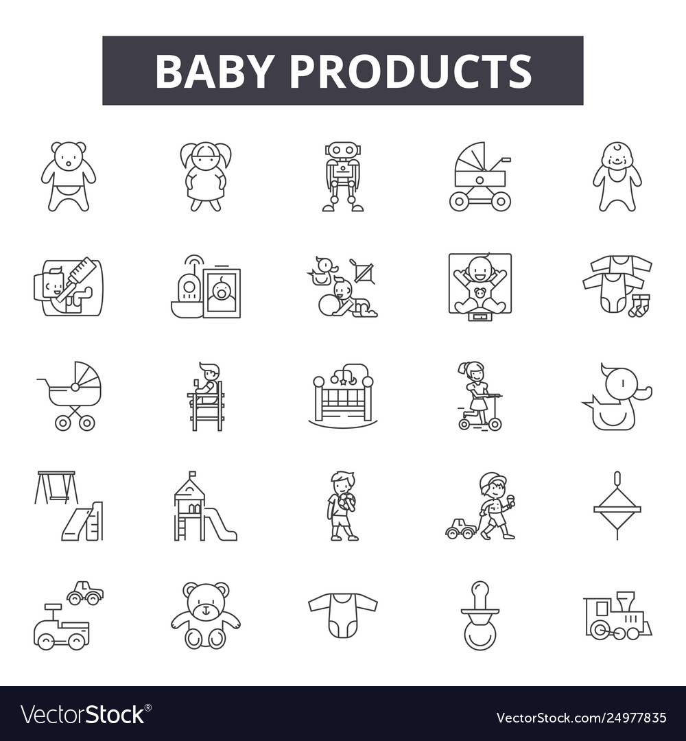 Baproducts line icons signs set