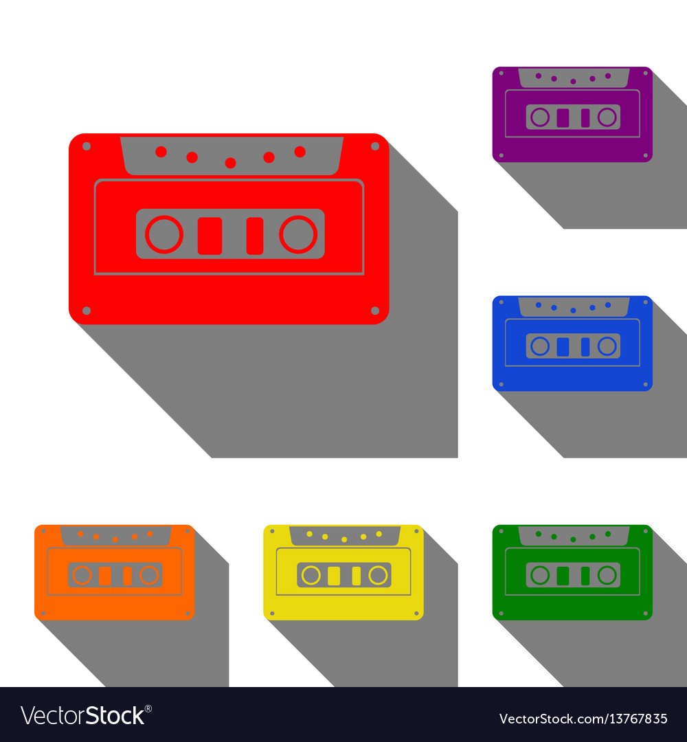 Cassette icon audio tape sign set of red orange