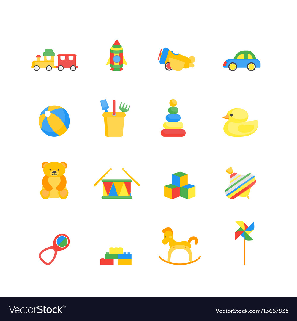 Child toys color icons set