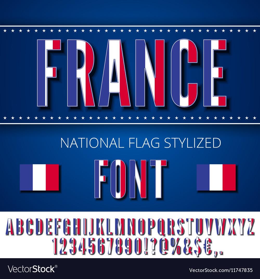 France Flag Font vector image