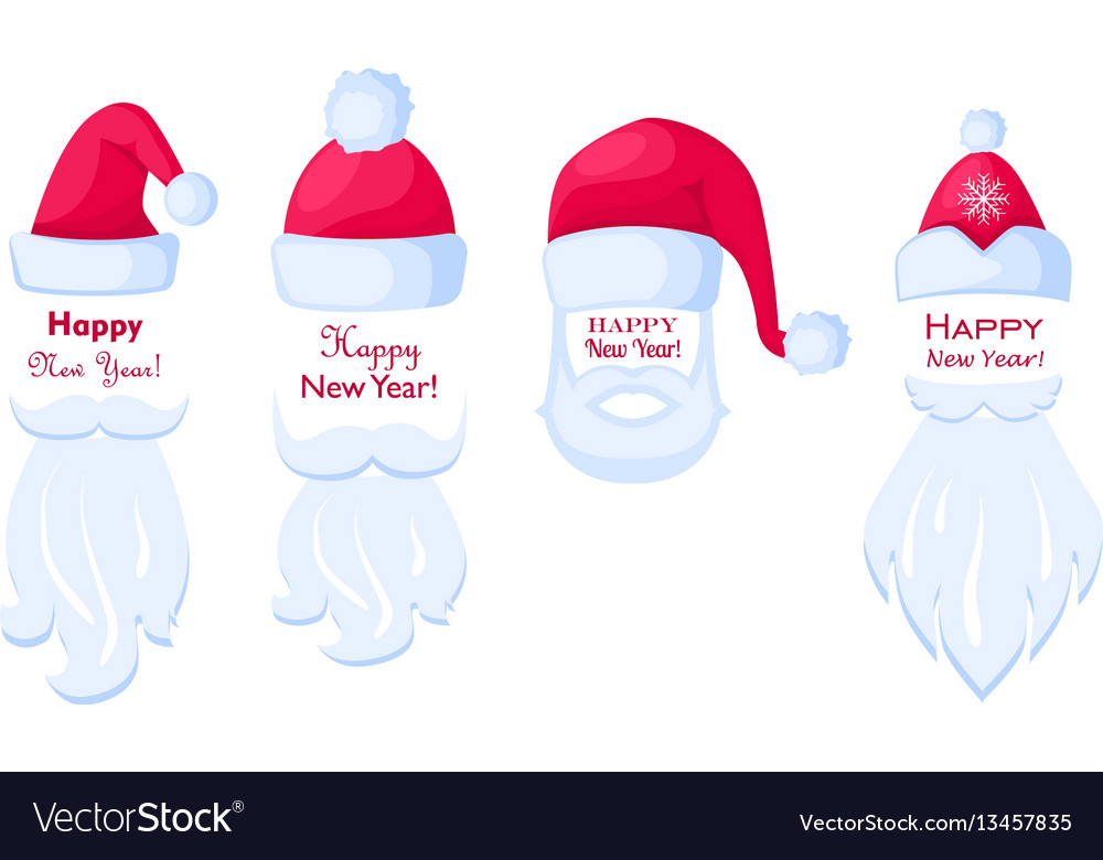 Happy new year santa claus caps and white beards