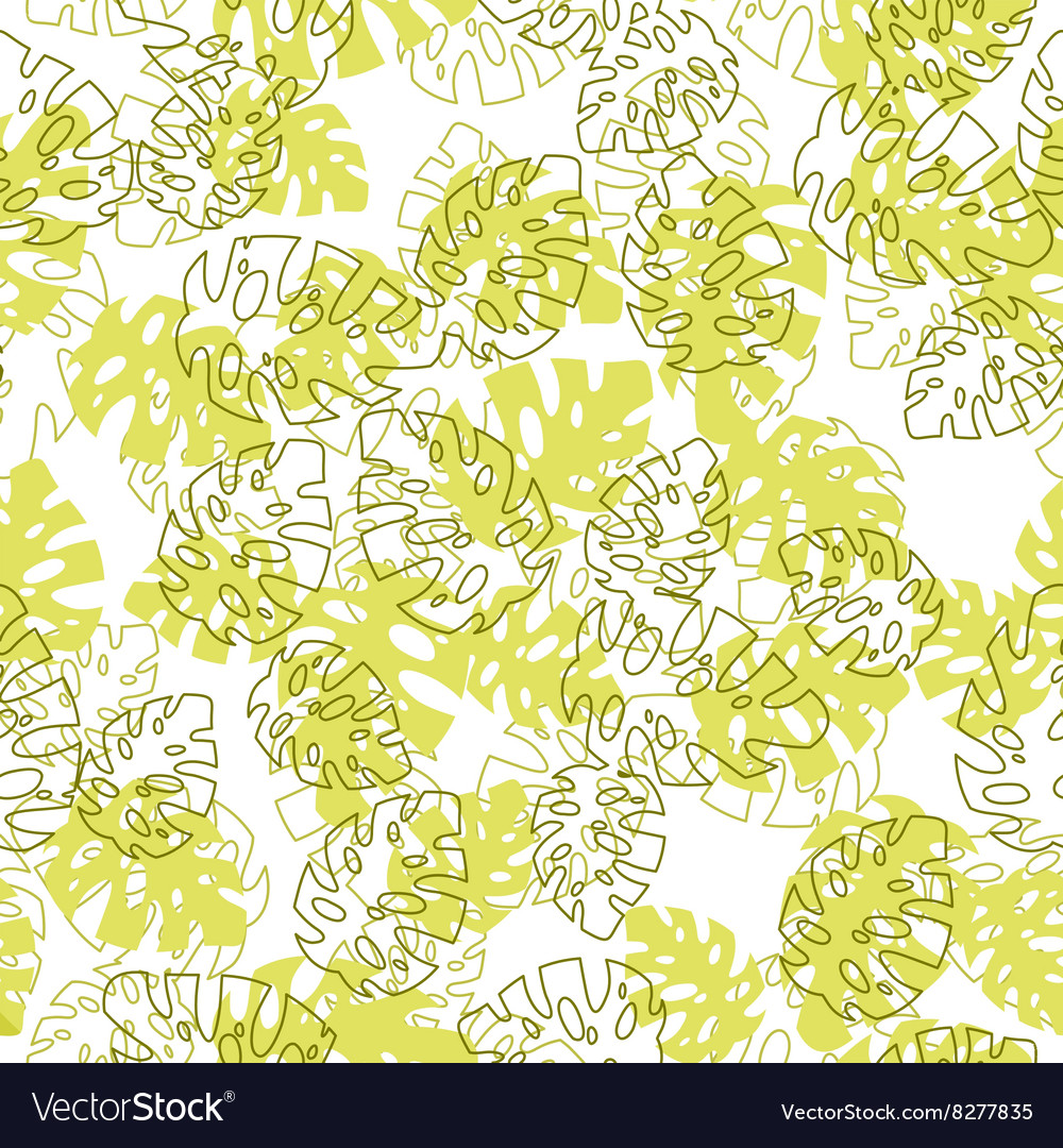 Hawaiian seamless pattern with Monstera leaves