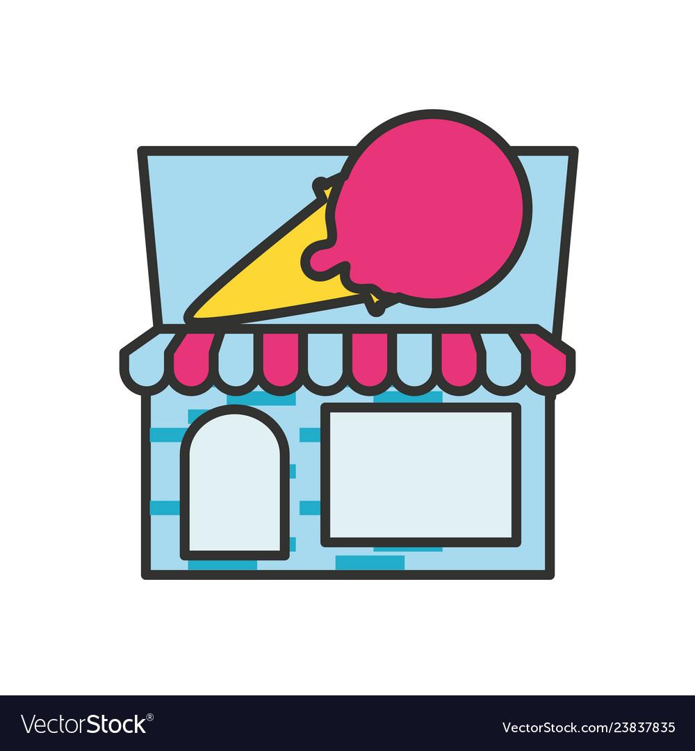 Ice cream store facade with parasol Royalty Free Vector