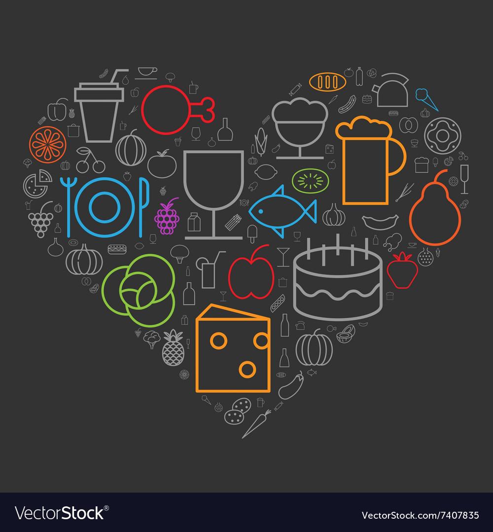 Icons shape line food drinks heart
