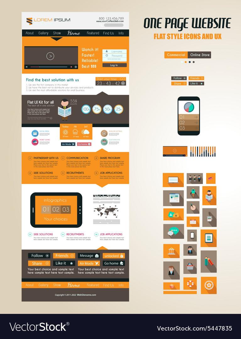 One page website flat ui design template vector image maxwellsz