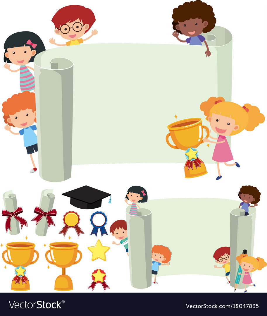 paper template with happy kids and trophy vector image