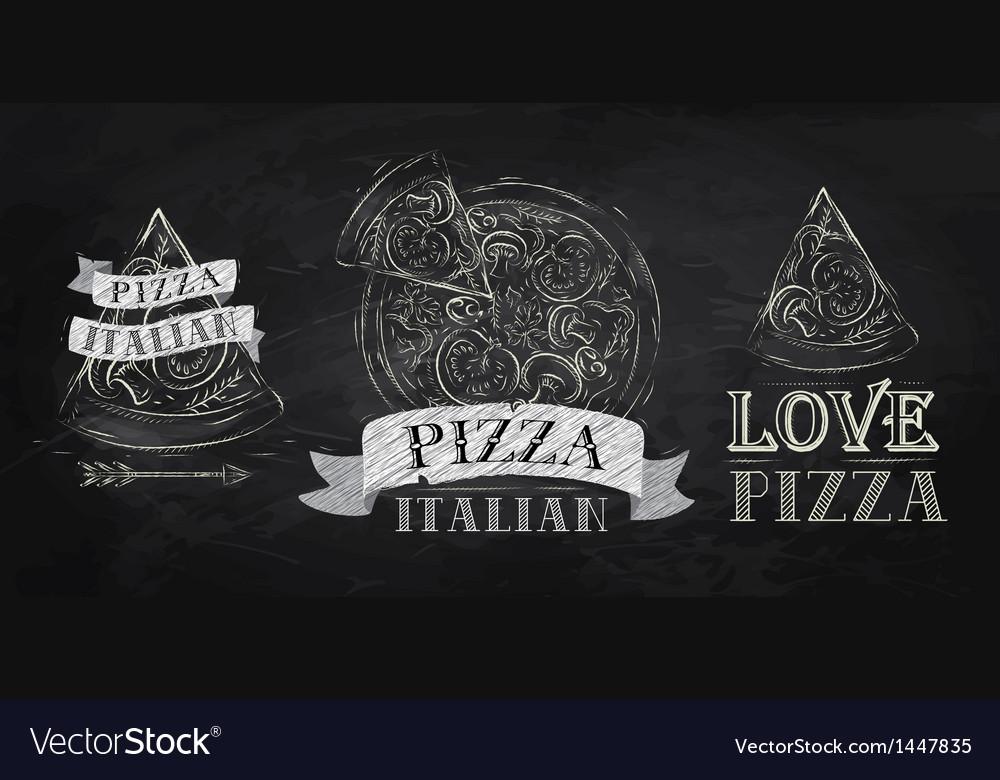 Pizza symbol icons chalk on the blackboard